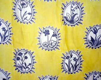 Vintage Silk Scarf - Gold with Black Flower Motif - Signed But Unknown Designer - Hand Rolled and Hemmed