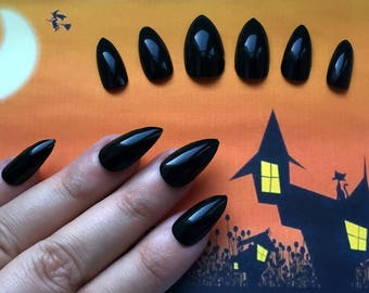A set of hand painted false nails. Full cover. Pointed STILETTO. Matte OR Gloss Black. Halloween Witch Claw Fancy Dress.