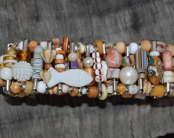 beach mix safety pin braclet