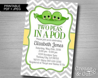 DIY Two Peas In a Pod Baby Shower Invitation for Twin Girls Or Twin Boys Gender Neutral Digital Personalized Invitation JPEG and PDF