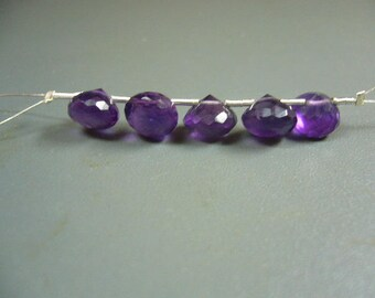 Amethyst Faceted Onion Briolette Set of 5 Beads