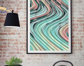 Abstract Fine Art Print - fractal art, curvy pastel lines,turquoise pink yellow peach aqua, wall decor, spring decor, home decor, housewares