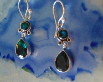 Tourmaline and Sterling silver earrings