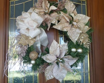 Champagne and Gold Wreath - Christmas Decorations - Poinsettia Wreaths - Holiday Door Decor - Poinsettia wreath - Holiday wreaths