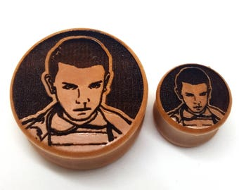 Pair of Engraved Stranger Things - Eleven Plugs [Cherrywood / Wood Stretchers 10mm - 60mm] Price Per Pair