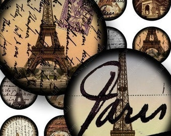 Vintage French Eiffel Tower Digital Collage Sheet in 1 Inch Circles Paris France for Bottlecaps, Pendants, Jewelry and More piddix 677