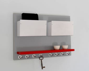 MODERN MINIMAL ORGANIZER: Office Wall Mount Double Bin Storage Unit with Shelf and Key Hooks, Entry Office Organization