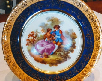 2 porcelain plates from limoges fragonard decoration cobalt blue