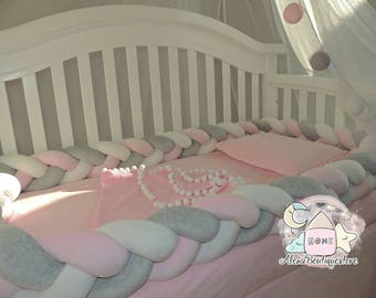 Mixed Braided Crib Bumper, Nursery bedding,Kids Room Decor Knot Pillow,Knot Cushion,Premium Quality Cotton blend Fabric(20 colors to shoose)
