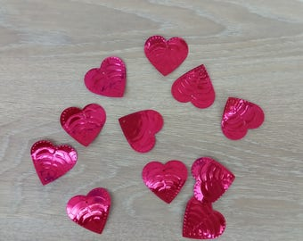Set of 10 glitter heart for DIY