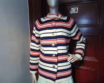 Vintage Red White Cardigan