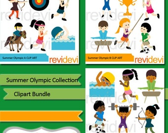 Sport clipart sale bundle / Summer Olympic clip art / instant download, commercial use, digital / swim, run, archery, gymnastic, soccer