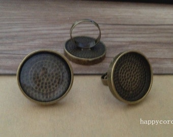 8set antique bronze 25mm adjustable ring bases with glass