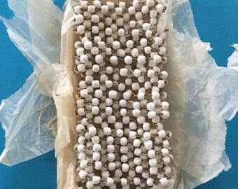 Vintage Milk Glass Bead Chain, 4mm, 4FT
