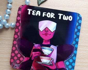Tea for two coaster glossy finish corkboard backside 9.5x9.5 cm