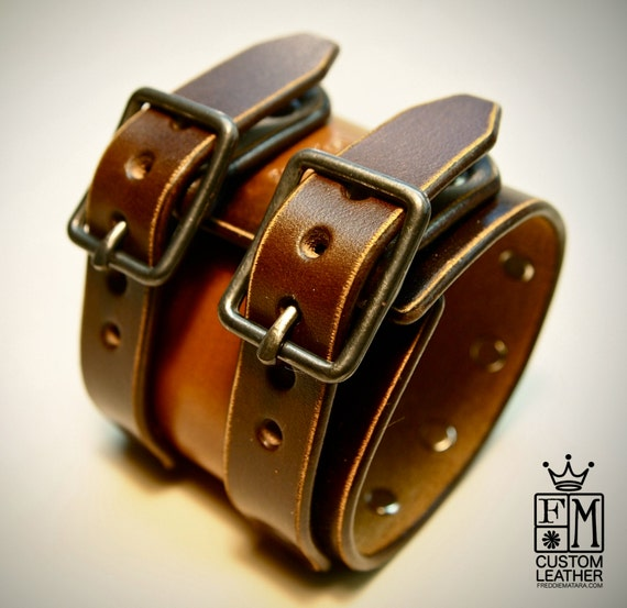 Leather cuff Bracelet studded vintage brown wristband style Made for YOU in USA by Freddie Matara!