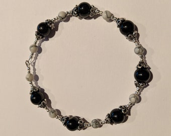 Beautiful silver, black and white marble tibetan style beaded bangle
