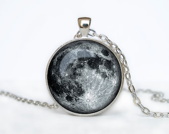 Full Moon Necklace Moon Pendant moon jewelry Galaxy Necklace gift for women gift for her handmade necklace gift idea jewelry bridesmaid gift