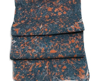 """One-of-a-kind Handmade Marbled Silk Scarf 11""""x60"""" - Patricia - Orange and Blue"""