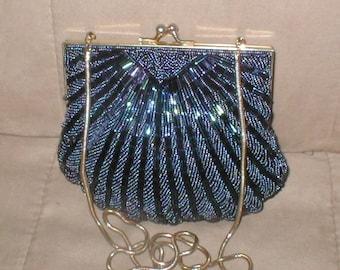 Vintage cobalt-blue Beaded Clamshell Evening Purse
