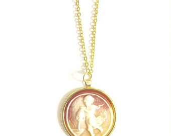 Aquarius Astrology Necklace, Astrology Necklace, Vintage Astrology Cameo Necklace