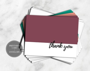 PRINTABLE Thank You Cards DIGITAL DOWNLOAD Wedding Baby Shower Birthday Graduation Greeting Cards Spring Pantone Colors  // GC110