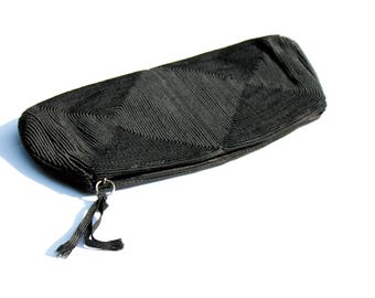 Vintage 1940s clutch . Three of Diamonds . black corde 40s clutch . black corde purse