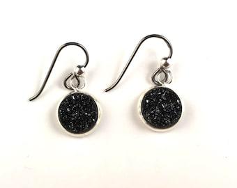 Black druzy dangly drop earrings with niobium wirefor sensitive ears