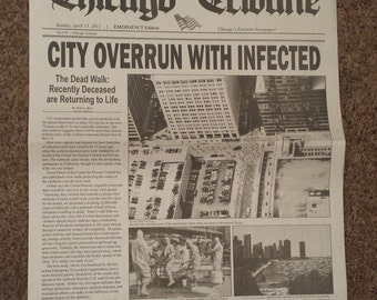 Zombie Outbreak Chicago Newspaper Display Piece