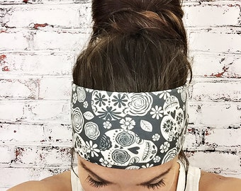 Sugar Skulls - Black & White - Eco Friendly Yoga Headband