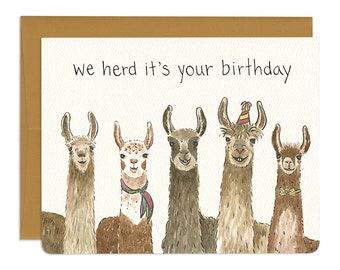 Llama Birthday Card // Cute and Funny Alpaca Inspired Birthday Card