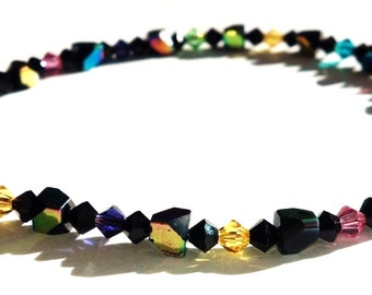 Multi Colored Swarovski Anklet, Mirrored Glass Beads, Black Yellow Green Pink Purple and Blue