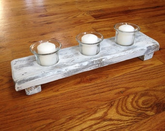 Country Shabby Chic candle holder centerpiece