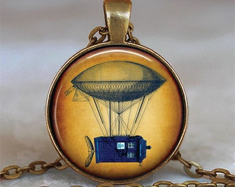 Steampunk Tardis necklace, Steampunk Tardis pendant Tardis jewelry Steampunk Dr Who necklace Dr Who jewelry key chain key fob key ring