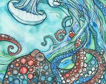 Octopus & Jellyfish 5 x 7 print of beautiful undersea watercolour artwork in turquoise blue green earth tones, ocean sea nettle jelly octo