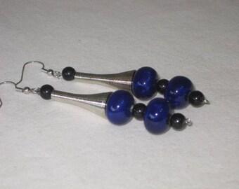 Cobalt Pottery and black jasper earrings