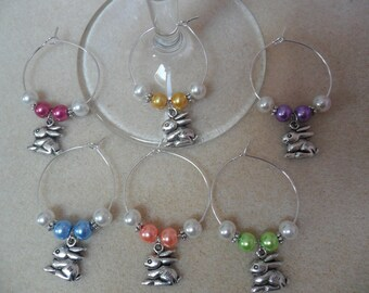 Easter Wine Glass Charms Set of 6 Easter Bunny