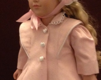 """Retro Coat and Bonnet made to fit 18"""" dolls like """"American Girl"""""""