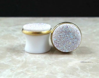 "White Genuine Druzy Drusy Plugs Gauges Gages in 9/16"", 14mm Wedding Bridal Bridesmaid"