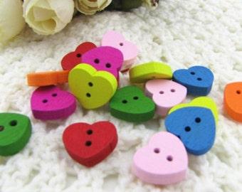 Wholesale -300pcs Heart shape  multi colors  wood Button DIY Sewing craft,  13*15mm