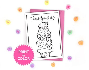 Printable Galentine's Day Card - Parks and Rec - Parks and Recreation - Treat Yo Self - Adult Coloring Card - Colouring - Instant Download