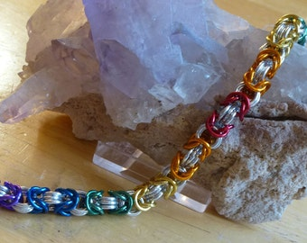 Rainbow (Full) and Silver Chainmaille Bracelet