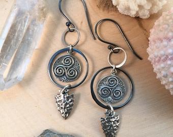 Triple Spiral Talisman Earrings