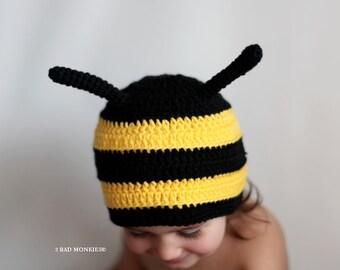 Bee Hat, Baby bee hat, Toddler Bee Hat, Bee costume, Baby Halloween costume, Toddler Halloween costume, Toddler hat
