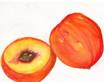 Peaches Watercolors Paintings original, Fruit art, peaches painting 5 x 7 watercolor of peaches, small kitchen decor, peaches wall art