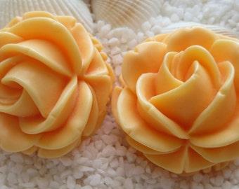 Resin 3D Flower - 39mm - Peach - 2 pcs