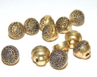 11 Vintage goldtone metal buttons