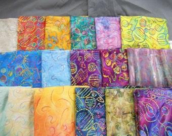 """UNIQUE Embroidered jewel tone Batik fabric 100% cotton 1 yd x 44"""" w"""