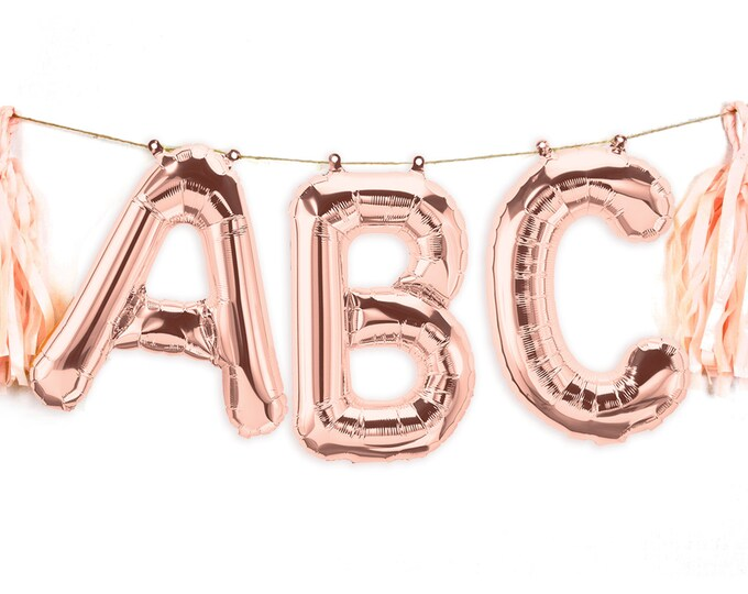 "Featured listing image: 16"" Custom Rose Gold Balloon Banner, Wedding Photo Prop, Giant Balloon, Balloon Prop, Letter Balloon, Balloon Tassel Kit, Rose Gold Glitter"