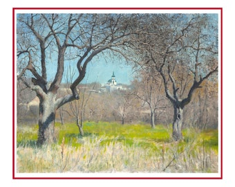 Spring painting, landscape paintings, original oil painting, wall art painting,  painting landscape, original artwork, painting,  landscape